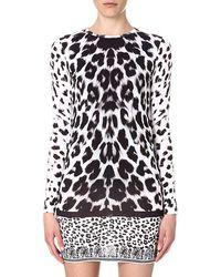 Versus  Leopardprint Jersey Dress Whiteblack - Lyst