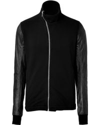 DRKSHDW by Rick Owens Cotton Zip Front Sweatshirt with Leather Sleeves - Lyst
