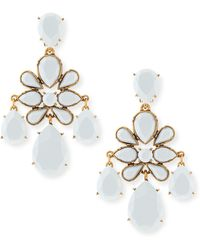 Oscar de la Renta Faceted Chandelier Clipon Earrings White - Lyst