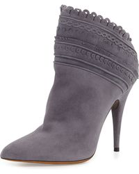 Tabitha Simmons Harmony Scalloped Ankle Boot Gray - Lyst
