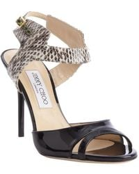 Jimmy Choo Black And Brown Leather And Snakeskin 'Marcia' Heel Sandals - Lyst
