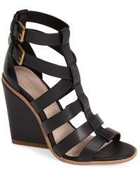 Pour La Victoire 'Cecile' Leather Wedge Sandal - Lyst