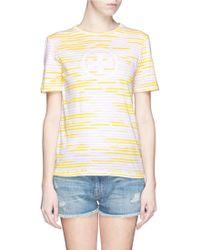 Tory Burch 'Cathy' Contrast Stripe Logo T-Shirt - Lyst