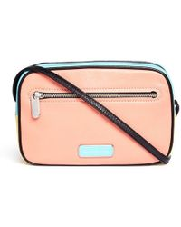 Marc By Marc Jacobs 'Sally Blocked And Pieced' Colourblock Leather Bag pink - Lyst