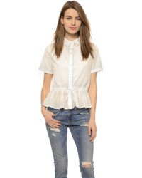 CLU Ruffled Drawstring Shirt - White - Lyst