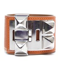 Hermes Preowned Leather Collier De Chien Cdc Cuff - Lyst