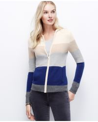 Ann Taylor Colorblock Cashmere Hoodie - Lyst