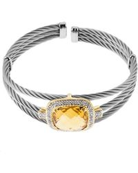 Charriol 18K Gold And Stainless Steel Diamond And Yellow Citrine Bracelet - Lyst