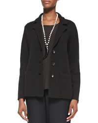 Eileen Fisher Notchcollar Lambswool Jacket - Lyst