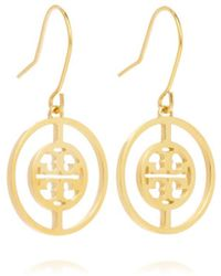 Tory Burch Deco Logo Drop Earring - Lyst