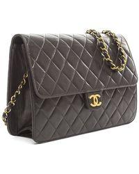 Chanel Preowned Vintage Black Lambskin Flap Bag - Lyst