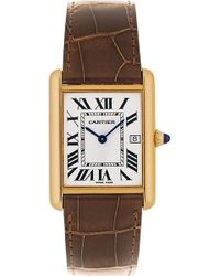 Cartier Tank Louis 18ct Yellowgold and Leather Watch - Lyst