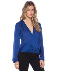 Halston Heritage Wrap Front Blouse - Lyst