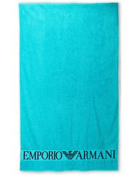 Emporio Armani Turquoise Embroidered Logo Beach Towel - Lyst