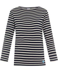 Orcival Breton-Striped Cotton Sweater blue - Lyst
