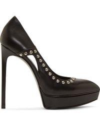 Saint Laurent - Black Leather Studded Janis Stiletto Shoes - Lyst