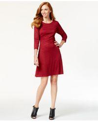 Eci - Damask-stripe Flare Dress - Lyst