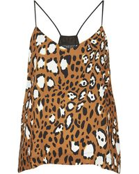 Topshop Womens Petite Animal Spot Strappy Cami Top  Tan - Lyst