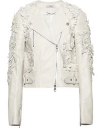 Erdem Jade Appliquéd Leather Biker Jacket - Lyst