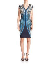 Roberto Cavalli Printed Jersey V-Neck Dress - Lyst