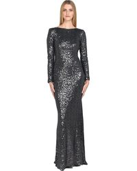 Badgley Mischka | Sequined Cowl-back Evening Gown | Lyst