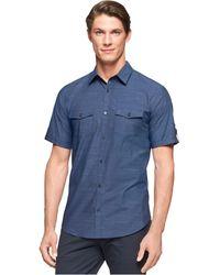 Calvin Klein Double-pocket Slub Solid Shirt - Lyst