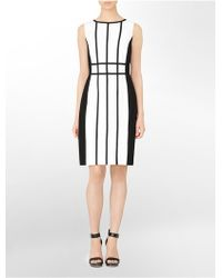 Calvin Klein Stretch Luxe Belted Sheath Dress In White