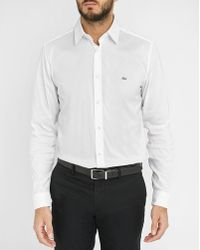 Lacoste | White Stretch Poplin Slim-fit Shirt With Chest Logo | Lyst