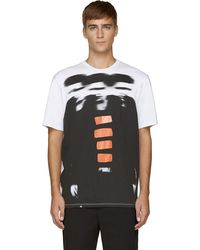 MSGM White and Black Blurry Men T_shirt - Lyst