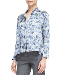 Armani Abstract-print Long-sleeve Blouse - Lyst