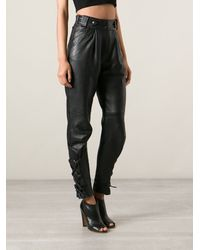 Yves Saint Laurent Vintage Leather Trousers - Lyst