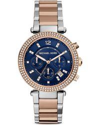 Michael Kors Two Tone Parker Watch, 39Mm - Lyst