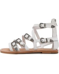 Ash Penelope Buckle Flat Sandals - White - Lyst