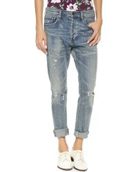 Citizens Of Humanity Corey Straight Leg Ripped Jeans Outpost - Lyst