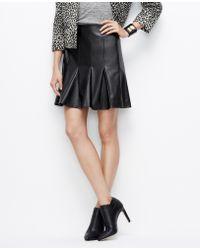 Ann Taylor Faux Leather Flounce Skirt - Lyst