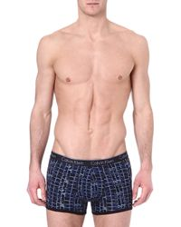 Calvin Klein Patterned Stretch-cotton Trunks - Lyst