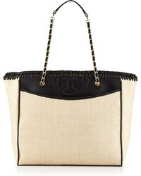 Tory Burch Fleming Straw Leather Tote Bag Naturalblack - Lyst