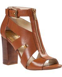 MICHAEL Michael Kors Anya Mid Sandal Luggage Leather - Lyst