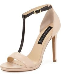 Steven by Steve Madden Rainn Patent Leather T-Strap Sandal - Lyst