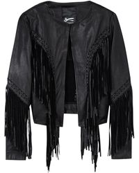 Denham Bandidos Black Fringed Leather Jacket - Lyst
