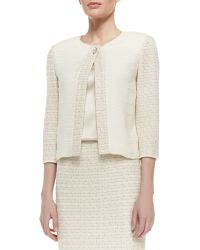 St. John Collection Mini Gilded Checked Knit 34 Sleeve Jacket with Tiered Silk Georgette Front - Lyst