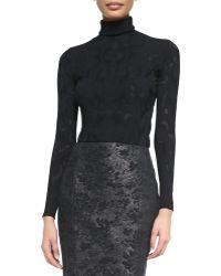 Versace Lace-texture Turtleneck Top - Lyst