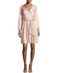 Halston Heritage A-Line Wrap Dress beige - Lyst