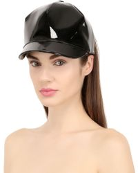 SuperDuper Hats Faux Patent Leather Half Hat - Lyst