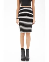Forever 21 Striped Pencil Skirt - Lyst