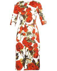 Dolce & Gabbana Rose-Print Brocade Dress - Lyst