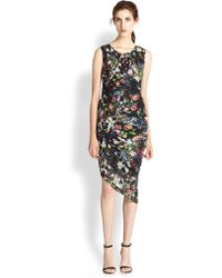 McQ by Alexander McQueen Ruched Floral-Print Silk Dress - Lyst