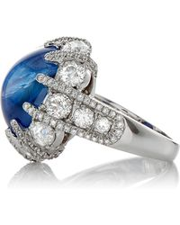 Gioia | Star Sapphire Cabochon And Diamond Ring | Lyst