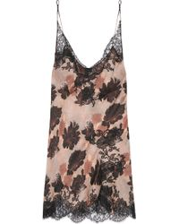 Carine Gilson Lace-Trimmed Printed Silk-Satin Chemise - Lyst