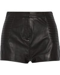 Balmain High-Rise Leather Shorts - Lyst
